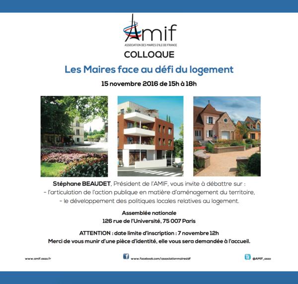 Colloque AMIF : les Maires face au défi du logement - 15 novembre