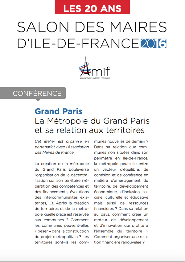 Salon de l'AMIF : Conférence Grand Paris