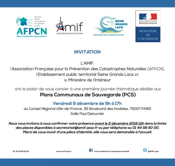 L'AMIF organise une journée thématique dédiée aux Plans Communaux de Sauvegarde le 9 décembre