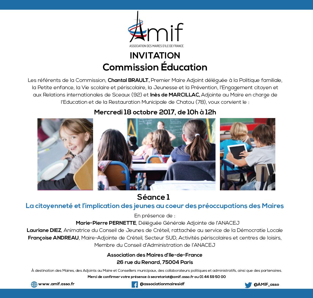 Commission Education - Séance 1 - Mardi 18 octobre 2017 - 10h-12h