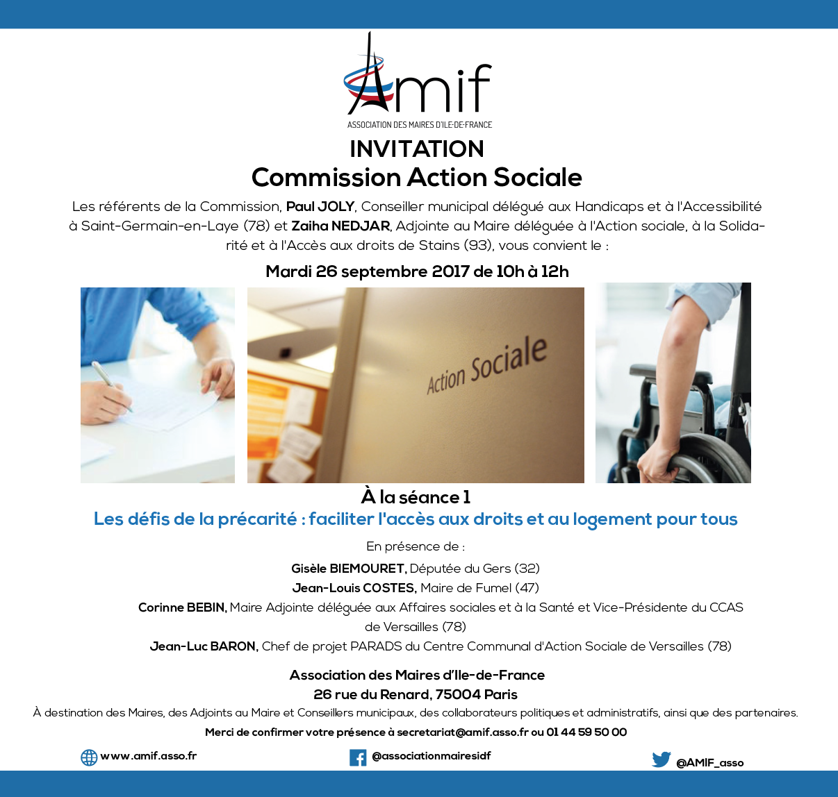 Commission Action sociale - Séance 1 - Mardi 26 septembre 2017 - 10h-12h