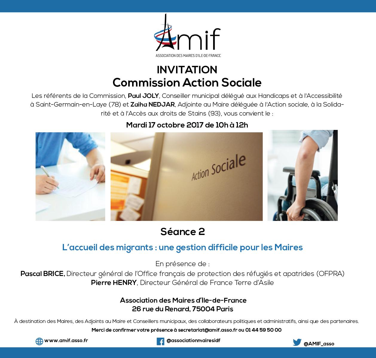 Commission Action sociale - Séance 2 - Mardi 17 octobre 2017 - 10h-12h