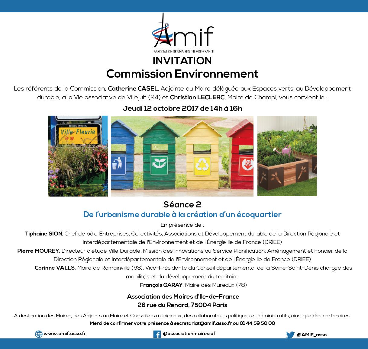 Commission Environnement - Séance 2 - Jeudi 12 octobre 2017 - 14h-16h