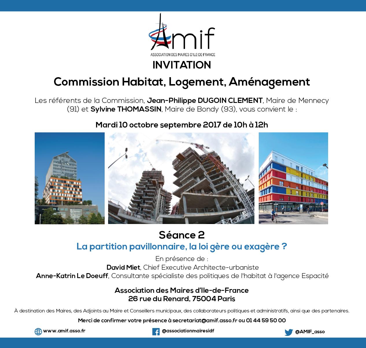 Commission Logement, habitat, aménagement - Séance 2 - Mardi 10 octobre 2017 - 10h-12h