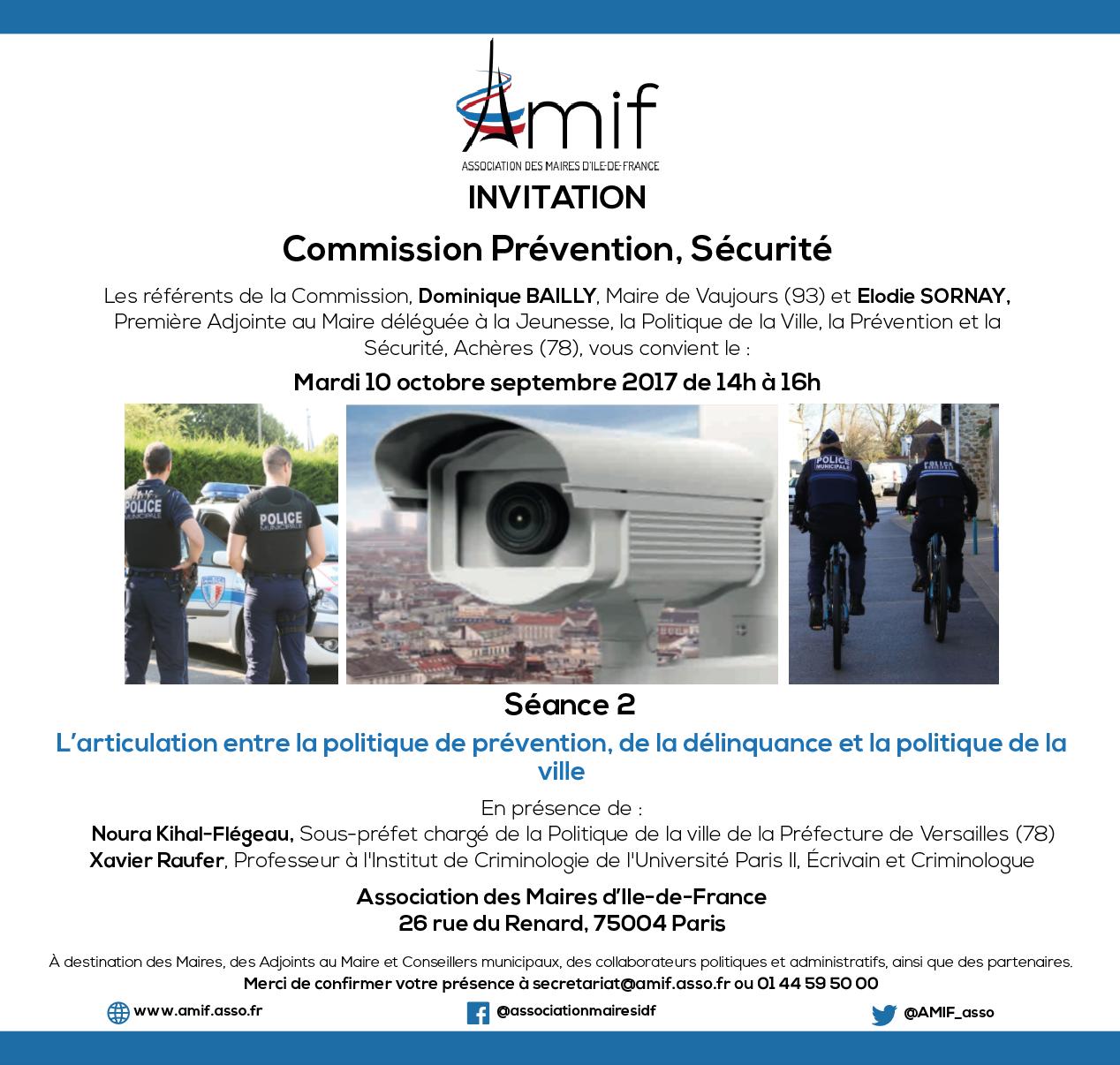 Commission Prévention, sécurité - Séance 2 - Mardi 10 octobre 2017 - 14h-16h