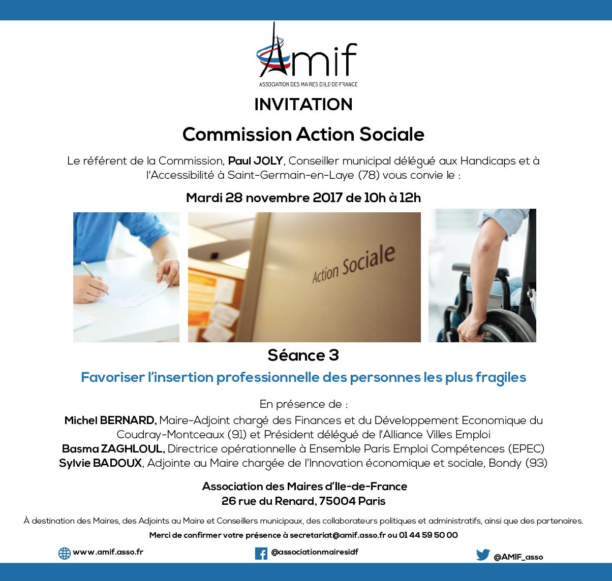 Commission Action sociale - Séance 3 - Mardi 28 novembre 2017 - 10h-12h