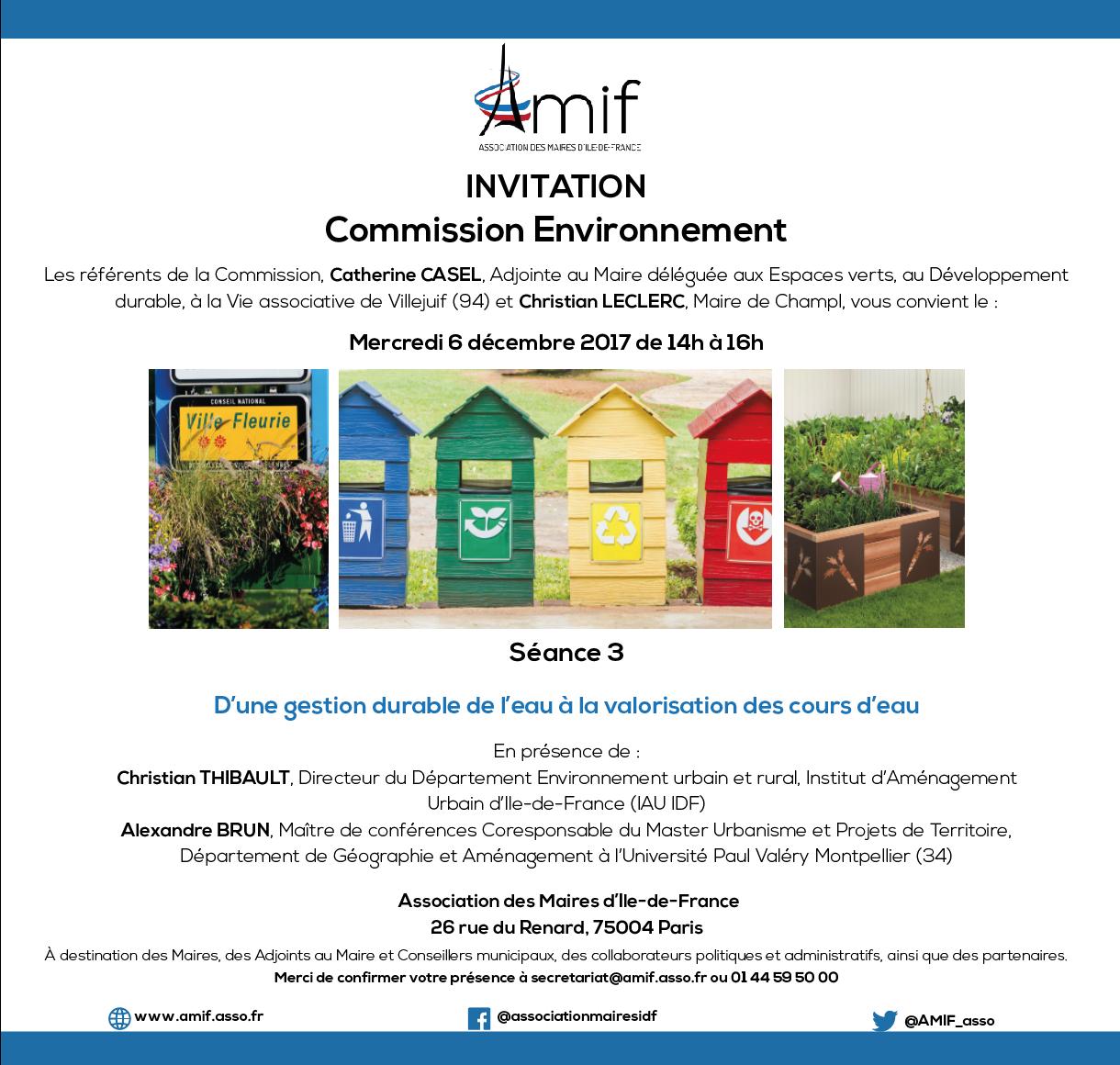Commission Environnement - Séance 3 - Mercredi 6 décembre 2017 - 14h-16h