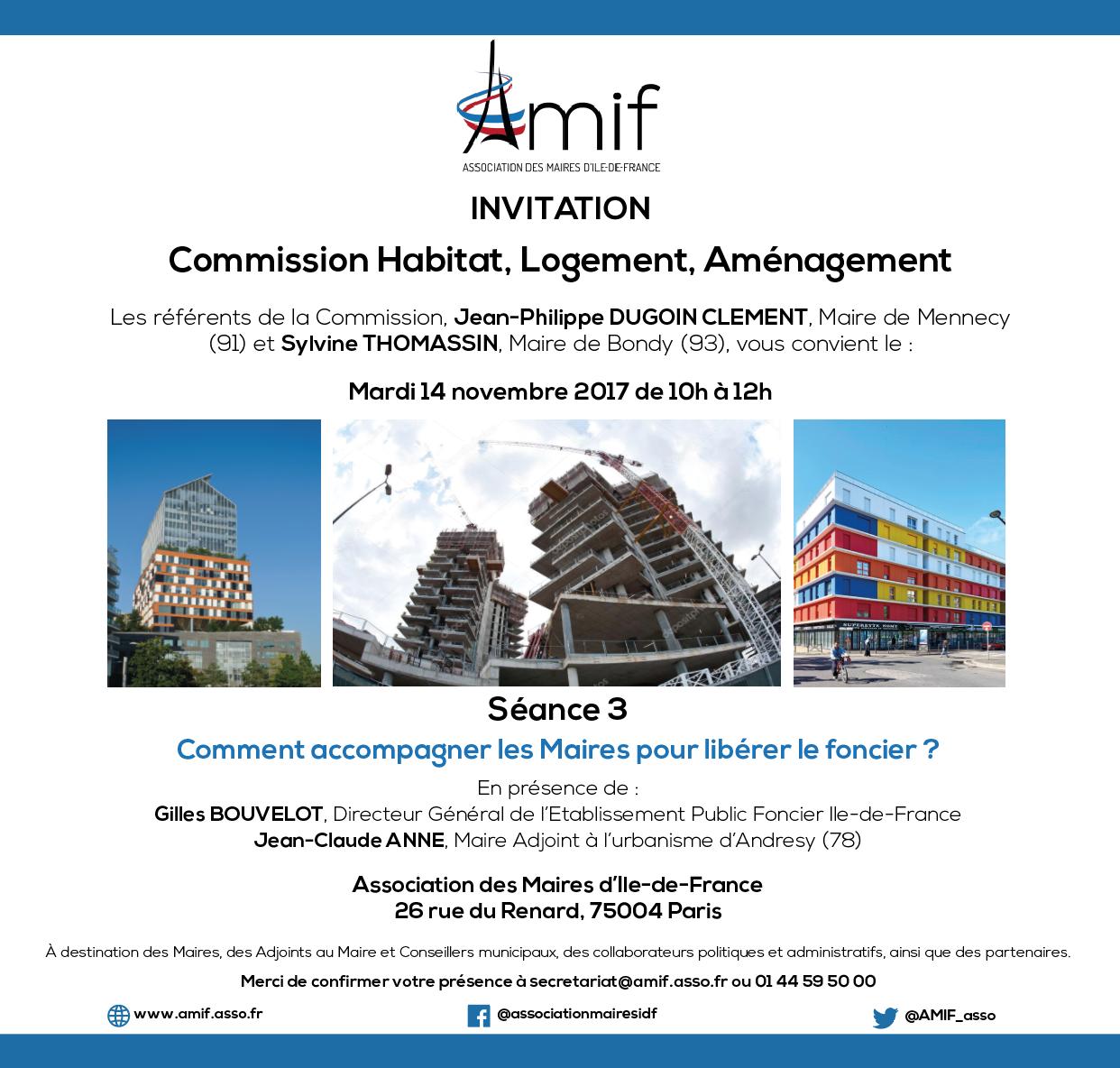 Commission Logement, habitat, aménagement - Séance 3 - Mardi 14 novembre 2017 - 10h-12h