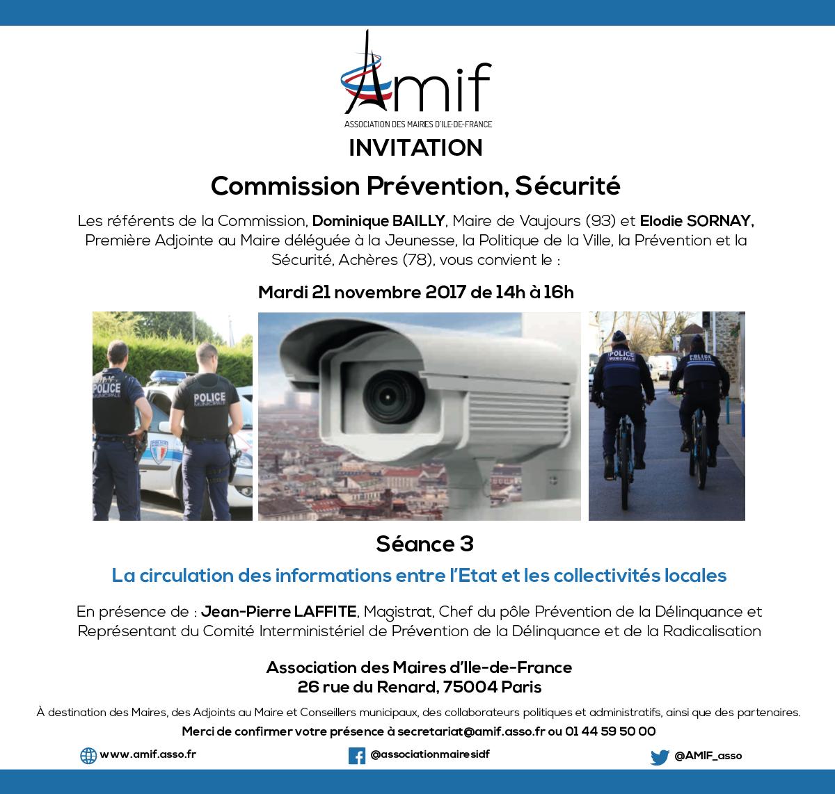 Commission Prévention, sécurité - Séance 3 - Mardi 21 novembre 2017 - 14h-16h