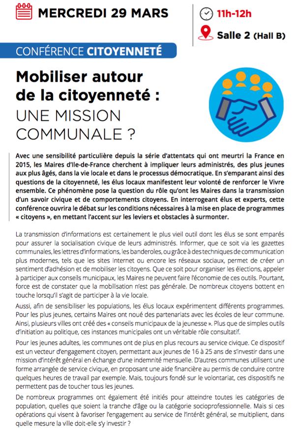 #SMIDF : Inscrivez-vous à la Conférence Citoyenneté